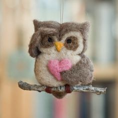 Needle Felted Owl Ornament Searching with Heart to hang in the house during Valentine's Day ~ Etsy