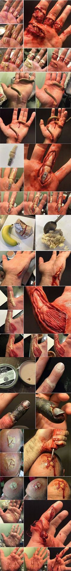Halloween / SFX makeup that could be handy for some freaky cosplays Makeup Fx, Zombie Makeup, Scary Makeup, Cosplay Makeup, Costume Makeup, Hand Makeup, Blood Makeup, Awesome Makeup, Makeup Tricks
