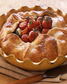 Yum! I used garden veggies to create this @Martha Stewart recipe for Cherry Tomato, Bocconcini, and Zucchini Pie over the weekend. SO tasty - especially the cheesy pie crust!