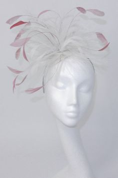 Pink/white Fascinator Hat for Weddings Races and by Hatsbycressida, $90.00