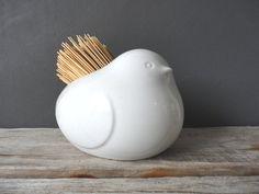 Bird Pottery Rustic Straw Brush Holder