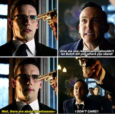 """""""Give me one reason why I shouldn't let Butch kill you where to stand!"""" - Oswald, Ed and Butch #Gotham"""