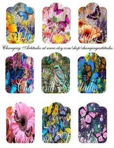 BUTTERFLY GIFT TAGS Floral Butterfly Gift by ChangingArtitudes