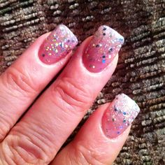Gel nails with glitter fade! Very cute!