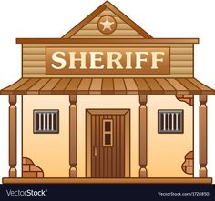 Illustration about Sheriff s office building from Wild West. Illustration of cowboy, built, wood - 37246822 Western Saloon, Western Style, Old Western Towns, Estilo Cowgirl, Old West Town, Old Country Stores, West Art, Building Plans, Free Vector Images