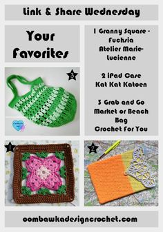 Your Favorites - Grab and Go Bag, Fuchsia Square and iPad Case http://oombawkadesigncrochet.com/2016/08/your-favorites-grab-and-go-bag-fuchsia-square-and-ipad-case.html