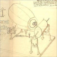 Dessin d'Édouard-Léon Scott de Martinville représentant le phonautographe, 1859 — Institut National de la Propriété Industrielle.