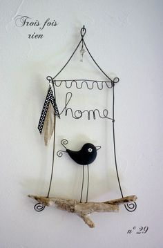 Bird home, make from wire coat hangers, sew little bird from fabric scraps,add little chandy bling on top