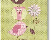 Baby room - nursery print - childrens art print - kids room decor - Bird - Owl - Pink - Green - Walking Together print