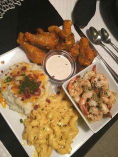 Mac n cheese loaded mashed potatoes garlic Alfredo shrimp & hot teriyaki wings