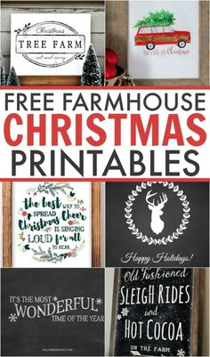 Spruce up your home for free this holiday season with these 6 gorgeous Farmhouse Christmas Printables. Perfect for any lover of farmhouse style. by GinkyDoodles