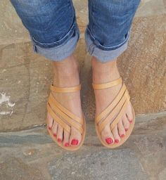 Slip on Greek Sandals, Leather Sandals, Roman Sandals, Women's Sandals, Leather summer flats, Natural Leather, Handmade, Anti slip rubber