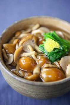 Photo: Japanese Nameko Jelly Mushroom Noodle Soup with Spinach and Yuzu Peel | Nameko Udon なめこうどん