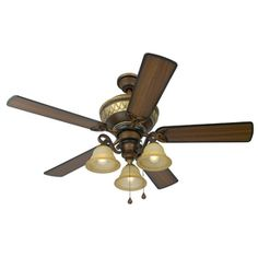 Hunter 52 rustic lodge brittany bronze 3 speed pull chain ceiling family room and master choice harbor rutherford walnut ceiling fan with up light and down light kit mozeypictures Gallery