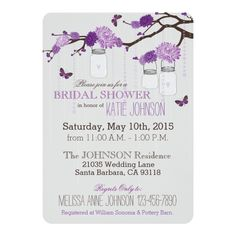 Dahlia Flower Branch Modern Bridal Shower 5x7 Paper Invitation Card