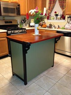 Materials: Hemnes 3-Drawer Chest Description: Kitchen islands are expensive! And they are not very cute. I took an old Hemnes 3-drawer chest (the bigger