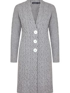 Ladies chunky wool cashmere 'Horseshoe Cable Coat' - Light Grey, by Irelands Eye Knitwear Autumn Winter 2014/15.