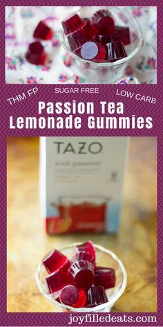 Tea Lemonade Gummies - Tazo Passion Tea is my favorite iced tea. Passion Tea Lemonade Gummies - Tazo Passion Tea is my favorite iced tea., Passion Tea Lemonade Gummies - Tazo Passion Tea is my favorite iced tea. Gelatin Recipes, Thm Recipes, Fruit Recipes, Dessert Recipes, Vegan Gelatin, Keto Desserts, Detox Recipes, Tazo Passion Tea, Passion Tea Lemonade