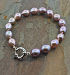 """Gifts $75-$100 - Vicky Bates Pink Pearl Necklace - Rhodium-plated Sterling Silver Natural Pink Pearl Bracelet, 7.5"""""""
