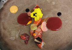 Antipasto by Anthony Genovese.  Red prawns, strawberries and tomatoes with vaniglia essence.