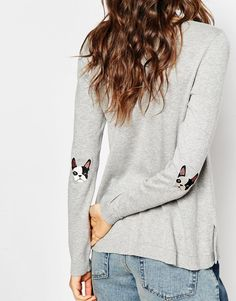 Image 3 of ASOS Jumper With French Bulldog Elbow Patch