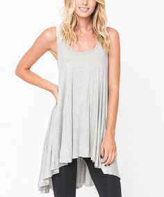 Love this Heather Gray Crochet Cross-Back Tunic - Women on #zulily! #zulilyfinds