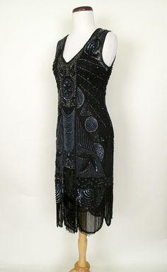 Black Beaded 1920's Gatsby Dress   Catnip Reproduction Vintage Clothing