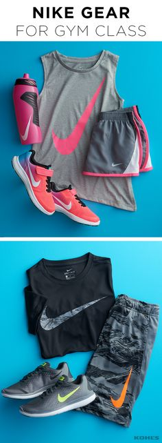 Back to school means back to gym class. From kickball to running sprints, make sure your kid is ready when the whistle blows. She'll love a pink and gray tank-and-running-shorts combo with coordinating sneakers and water bottle. He'll reach peak performance in a black tee and gray and black shorts with gray sneakers. Go back to school with Kohl's.