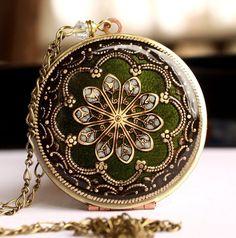 Locket Necklace, Wedding Jewelry, Bridal Neckalce, Prom Necklace, Green Locket…