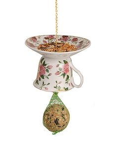 Look what I found on #zulily! Pink Upside-Down Tea Cup & Saucer Bird Feeder #zulilyfinds