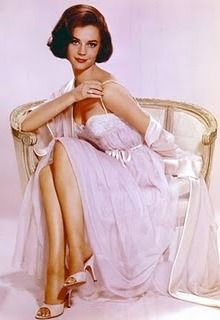 Natalie Wood in beautiful white negligee circa 1950s/1960s