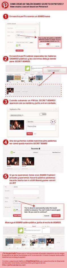 Cómo crear un tablero secreto en Pinterest #infografia // How create a secret board on Pinterest #infographic (pinned by @ricardollera)