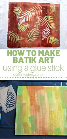 In this easy tutorial, I show you how to make a gorgeous piece of batik art using a glue stick and home-made fabric paint. #batik #printing Nature Crafts, Art Crafts, Crafts For Kids, Leaf Stencil, Batik Art, Glue Sticks, Dollar Store Crafts, Cool Diy Projects, Fabric Painting