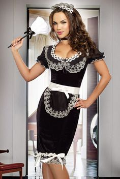 We think this French Maid Costume is original and sophisticated - are you a fan? Keep it Clean Maid Costume by Dreamgirl - just added! ( my Halloween costume this year ) French Maid Fancy Dress, French Maid Costume, Costume Sexy, Sexy Halloween Costumes, Halloween 2, Costume Collection, Dress Collection, Maid Outfit, Fancy Dress Outfits