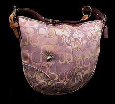 NICE Coach Ltd Ed Lilac Lady Bee Optic Signature C Lg Hobo Tote Purse Bag  RARE e156503d01