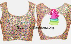 Multi Color Mirror Work Blouse – Multi color mirror work sleeveless blouse featuring cut out on the back and tie up detail with cloth tassels. Mirror Work Saree Blouse, Mirror Work Dress, Mirror Work Blouse Design, Saree Blouse Patterns, Saree Blouse Designs, Kutch Work Saree, Work Sarees, South Indian Blouse Designs, Latest Saree Blouse