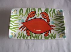 Cape Shore Ceramic Lemon Plate Jill Seale Rectangular Crab  #CapeShore