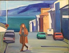 Woman in Street  c.1980  oil on canvas  23 x 30 inches  LOUISA MATTHIASDOTTIR