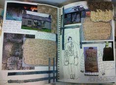 Fashion Sketchbook - fashion design development with research, knit samples & fashion sketches; fashion portfolio // Miriam Briddon