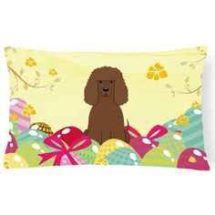 Carolines Treasures Easter Eggs Irish Water Spaniel Rectangular Polyester Canvas Decorative Outdoor Pillow - BB6063PW1216