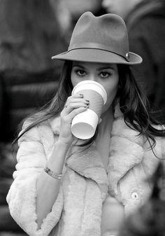 Fur Coat And Fedora. Kourtney Kardashian Style.