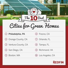 Redfin names the 10 Best Cities for Green Homes (Graphic: Business Wire)