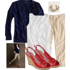 A fashion look from August 2010 featuring blue cardigan, blazer jacket and j crew cami. Browse and shop related looks. Blue Sweater Outfit, Red Shoes Outfit, Sweater Outfits, Casual Work Outfits, Work Attire, Work Casual, Cute Outfits, Summer Outfits, I Love Fashion