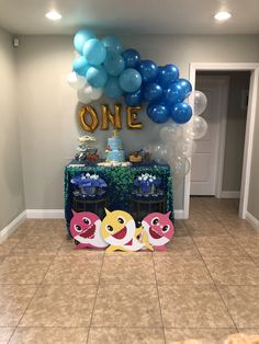 Baby Boy 1st Birthday Party, 1st Birthday Themes, First Birthday Parties, First Birthdays, Birthday Ideas, Girl Birthday Decorations, Shark Party, Baby Shark, Party Ideas