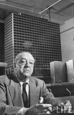 "Ludwig Mies van der Rohe (1886-1969) was a German-American ""Bauhaus"" architect and furniture designer.  His works include the Barcelona Pavilion (1929), Farnsworth House (1951), and the Seagram Building (1959) in NYC."