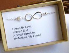 Mother's Infinity Bracelet With Gift Message -- 925 Sterling Silver with Freshwater Pearl -- Mother of the Bride -- Mother's Day on Etsy, £18.90