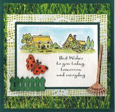 Kaart met de Autumn en Sentiments stempelsets. De stempelsets en de houten ornamentjes/papier Groen Gras (0619) zijn verkrijgbaar bij http://www.multihobby.nl/hobby-art-scene-it-stempels