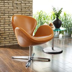 Aniline Leather Wing Chair In Terracotta for reception?