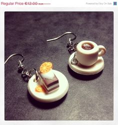 30 OFF Miniature Coffe and Cake Earrings Polymer by JosCreationsGR, €8.40