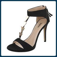 f6d314fc3fcd High Heel Sandaletten Damen-Schuhe Plateau Pfennig- Stilettoabsatz High  Heels Reißverschluss Ital-Design Sandalen   Sandaletten Schwarz, Gr 39, ...
